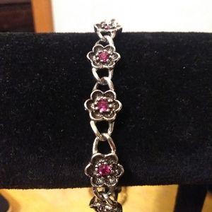 Vintage silver marcasite Avon link bracelet floral